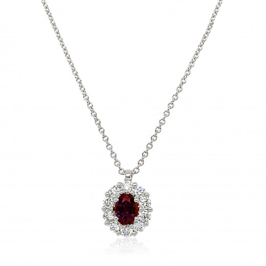 18ct White Gold Diamond and Ruby Cluster Pendant Necklace