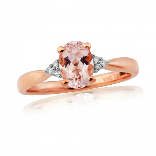 9ct Rose Gold Diamond & Morganite Ring
