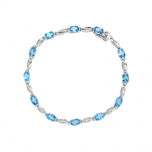 9ct White Gold Blue Topaz Bracelet