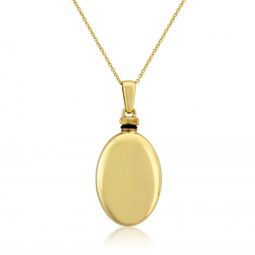 9ct Yellow Gold Oval Bottle Pendant Necklace