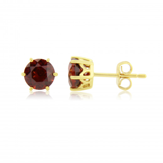 9ct Yellow Gold Garnet Stud Earrings