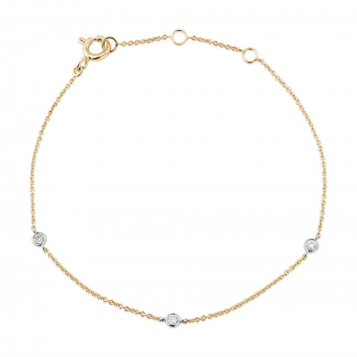9ct Yellow & White Gold Diamond Bracelet