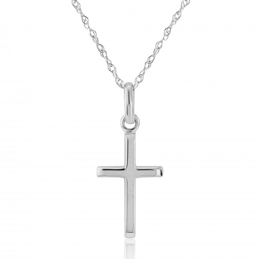 9ct White Gold Cross Pendant Necklace