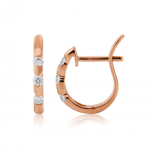 18ct Rose Gold Diamond Notch Earrings