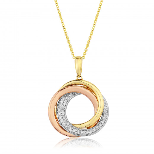 9ct Yellow and White Gold Triple Circle Pendant on Chain Necklace 46cm//18/' New