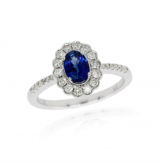 9ct White Gold Diamond Oval Scallop Sapphire Ring