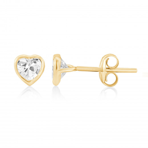 9ct Yellow Gold Cubic Zirconia Heart Earrings (Small)