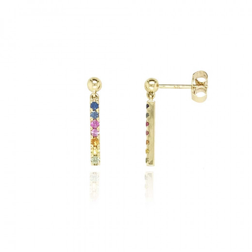 9ct Yellow Gold Multi Sapphire Earrings