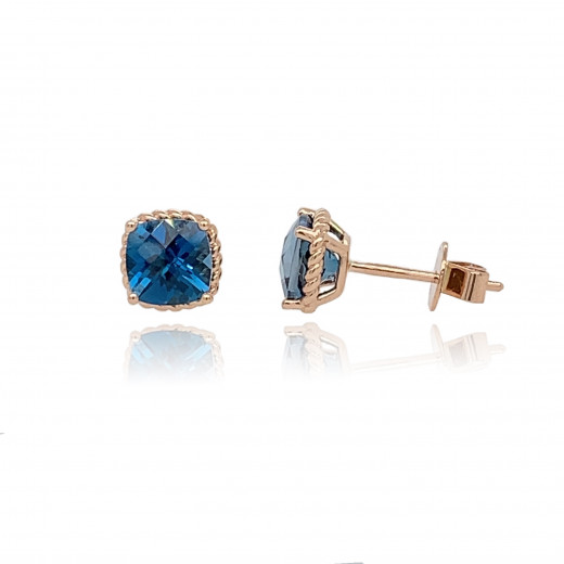 9ct Rose Gold London Blue Topaz Earrings
