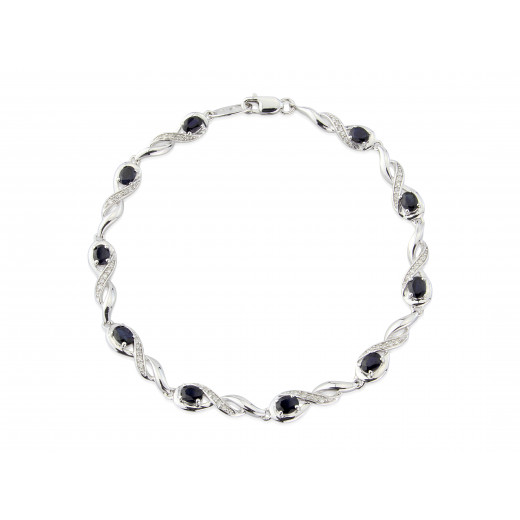 9ct White Gold Diamond Oval Sapphire Bracelet