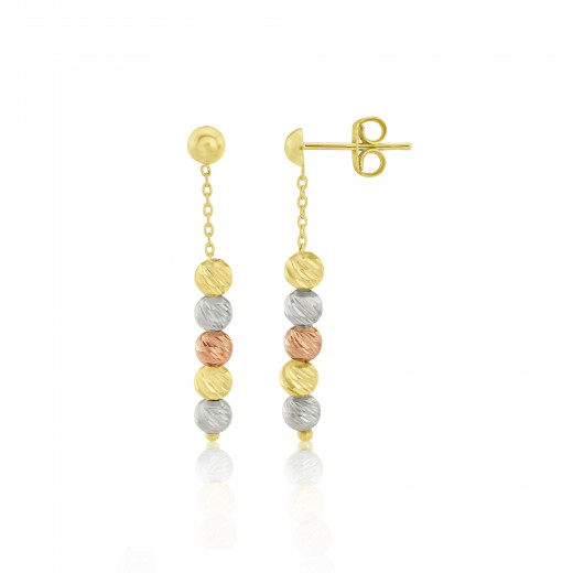 9ct Rose, Yellow and White Gold Bead Drop Earrings
