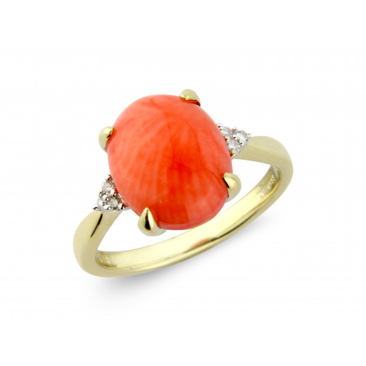 9ct Yellow Gold Diamond & Coral Oval Ring