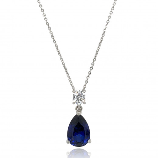 9ct White Gold Cubic Zirconia & Created Sapphire Pendant Necklace