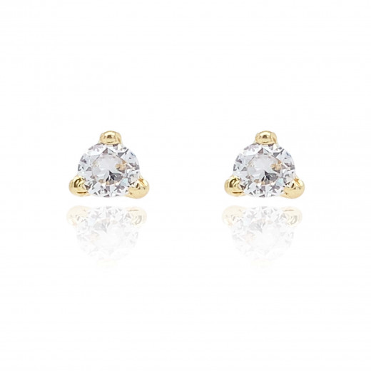 9ct Yellow Gold Cubic Zirconia Trilliant Earrings