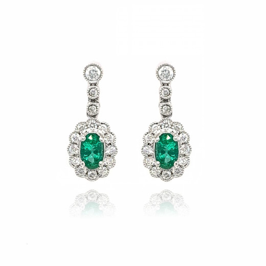 9ct White Gold Diamond Oval Scallop Emerald Stud Earrings