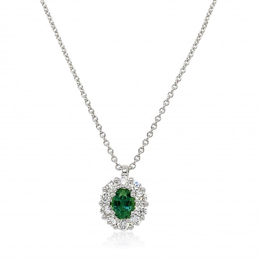 18ct White Gold Diamond and Emerald Cluster Pendant Necklace
