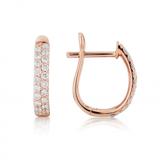 18ct Rose Gold Diamond Pavee Earrings