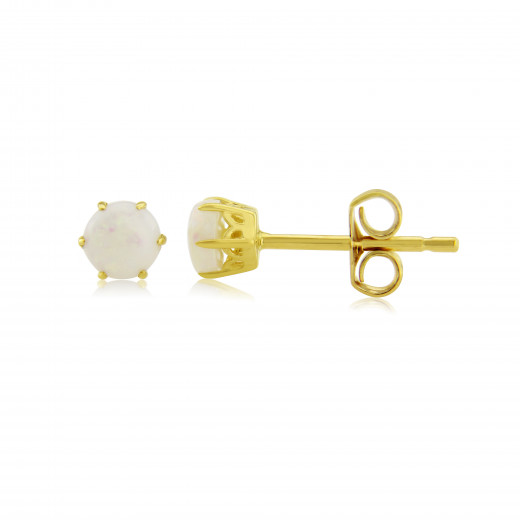 9ct Yellow Gold Opal Stud Earrings