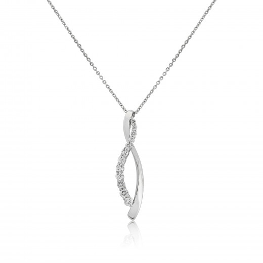 9ct White Gold Diamond Twist Pendant Necklace