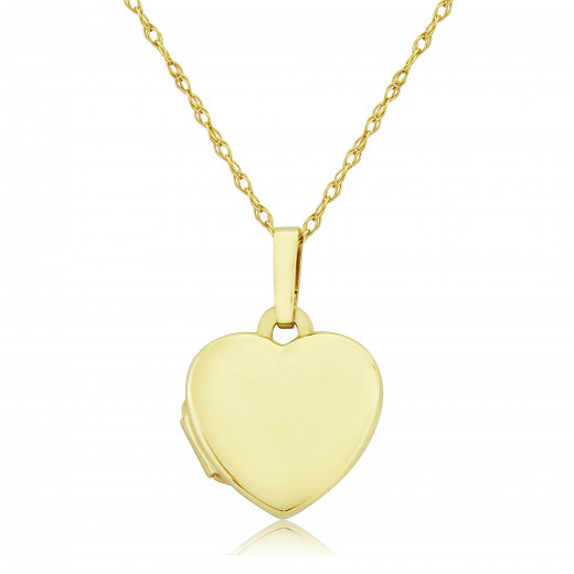 9ct Yellow Gold Pillow Heart Locket Necklace