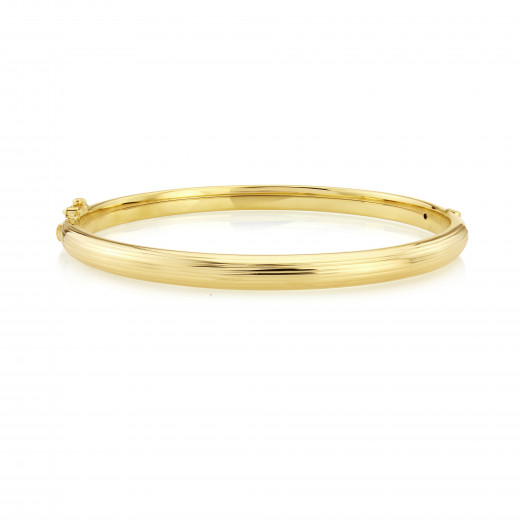 9ct Yellow Gold Stripe Texture Bangle