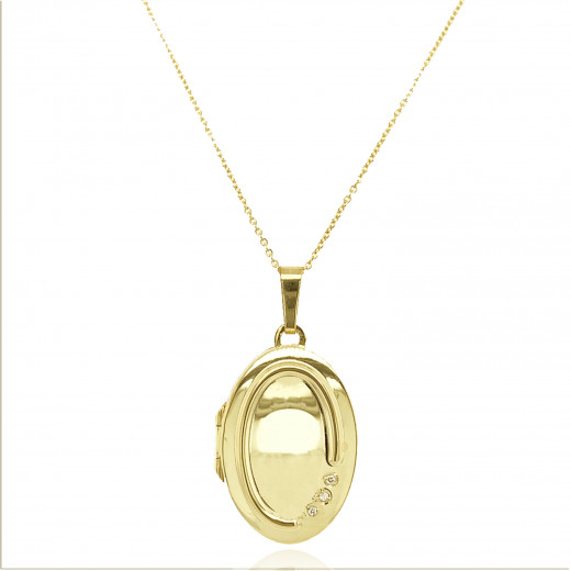 9ct Yellow Gold Diamond Ovsl Locket Necklace