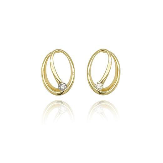 9ct Yellow Gold Diamond Oval Earrings