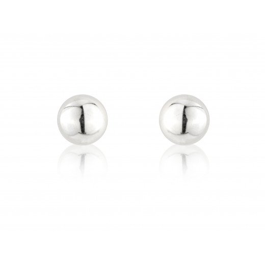 9ct White Gold Medium Ball Stud Earrings