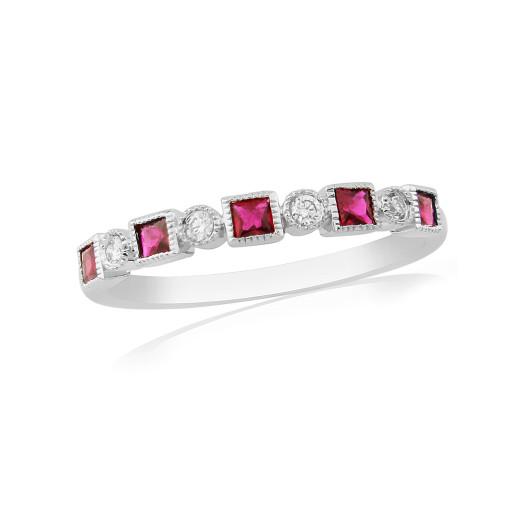 18ct White Gold Diamond & Ruby Ring