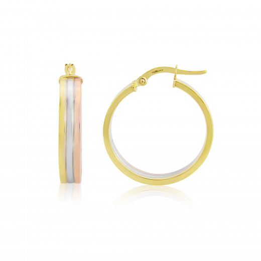 9ct Trio Colour Gold Flat Hoop Earrings