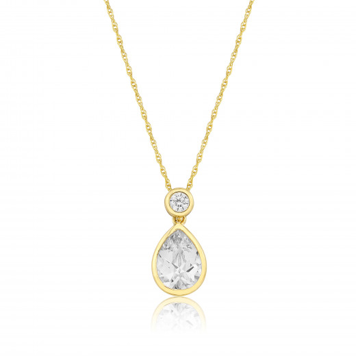 9ct Yellow Gold Cubic Zirconia Teardrop Pendant Necklace