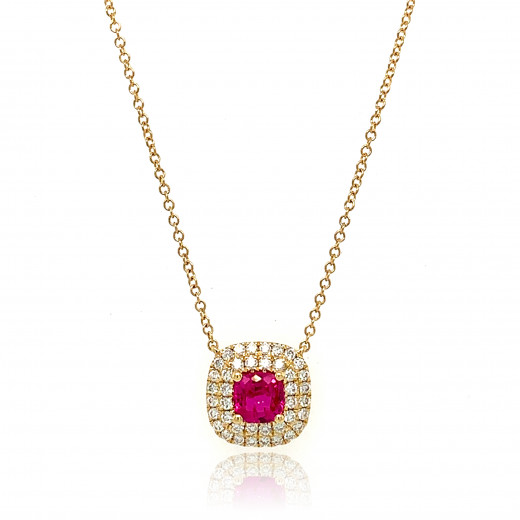 18ct Yellow Gold Diamond & Ruby Necklace