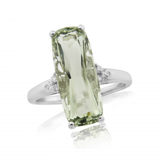 9ct White Gold Diamond & Green Amethyst Ring
