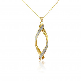 9ct Yellow Gold Glitter Twirl Pendant Necklace