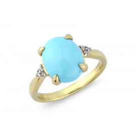 9ct Yellow Gold Diamond & Turquoise Oval Ring