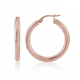 9ct Rose Gold Tube Hoop Earrings (Medium)