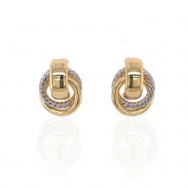 9ct Yellow and White Gold Door Knocker Stud Earrings