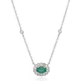 9ct White Gold Diamond Oval Scallop Emerald Necklace