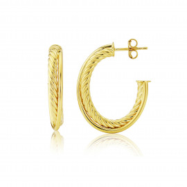 9ct Yellow Gold Spiral And Plain Texture Crossover Earrings