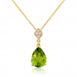 9ct Yellow Gold Diamond Peridot Necklace