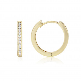 9ct Yellow Gold Cubic Zirconia Hoop Earrings