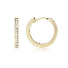 9ct Yellow Gold Cubic Zirconia Hoop Earrings