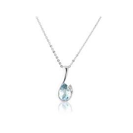 9ct White Gold Aquamarine & Diamond Curl Pendant Necklace