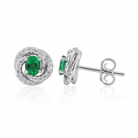 18ct White Gold Emerald & Diamond Fleur Earrings