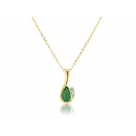 9ct Yellow Gold Emerald & Diamond Curl  Pendant Necklace