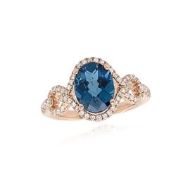 9ct Rose Gold Diamond & London Blue Topaz Ring