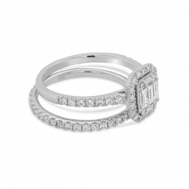 18ct White Gold Diamond Engagement & Wed fit Eternity Ring Set