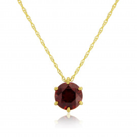 9ct Yellow Gold Garnet Pendant Necklace