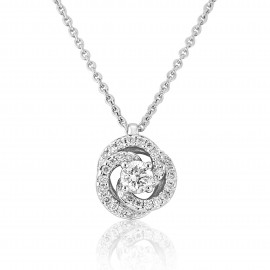 18ct White Gold Diamond Fleur Pendant Necklace