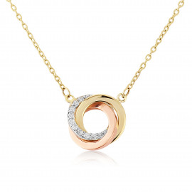9ct Three Colour Gold Cubic Zirconia Pendant Necklace